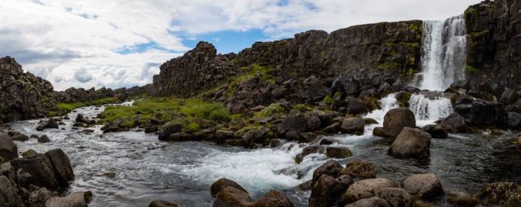 Vodopád Oxararfoss v národnom parku Thingvellir
