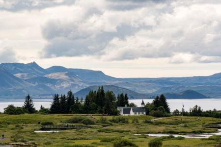 Kostolík v národnom parku Thingvellir
